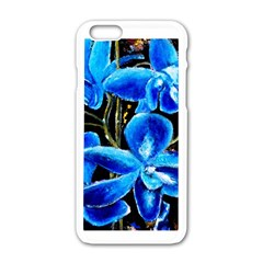 Bright Blue Abstract Flowers Apple iPhone 6 White Enamel Case
