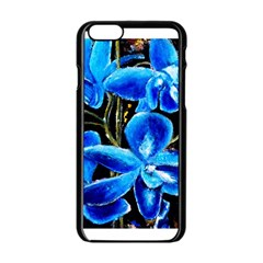 Bright Blue Abstract Flowers Apple iPhone 6 Black Enamel Case