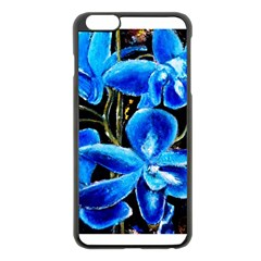 Bright Blue Abstract Flowers Apple iPhone 6 Plus Black Enamel Case