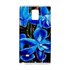 Bright Blue Abstract Flowers Samsung Galaxy Note 4 Hardshell Case