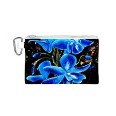 Bright Blue Abstract Flowers Canvas Cosmetic Bag (S)