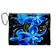 Bright Blue Abstract Flowers Canvas Cosmetic Bag (XL)