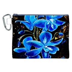 Bright Blue Abstract Flowers Canvas Cosmetic Bag (XXL)