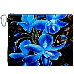 Bright Blue Abstract Flowers Canvas Cosmetic Bag (XXXL)
