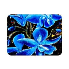 Bright Blue Abstract Flowers Double Sided Flano Blanket (mini)