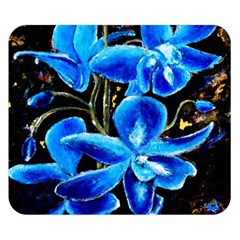 Bright Blue Abstract Flowers Double Sided Flano Blanket (Small)