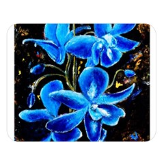 Bright Blue Abstract Flowers Double Sided Flano Blanket (Large)