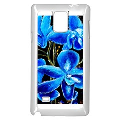 Bright Blue Abstract Flowers Samsung Galaxy Note 4 Case (white)