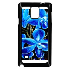 Bright Blue Abstract Flowers Samsung Galaxy Note 4 Case (black)