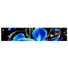 Bright Blue Abstract Flowers Flano Scarf (Small)
