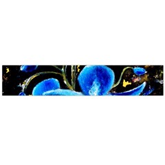 Bright Blue Abstract Flowers Flano Scarf (Large)