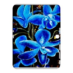 Bright Blue Abstract Flowers Samsung Galaxy Tab 4 (10.1 ) Hardshell Case