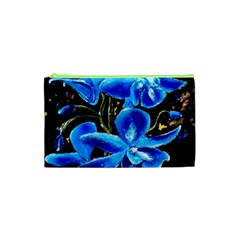 Bright Blue Abstract Flowers Cosmetic Bag (XS)