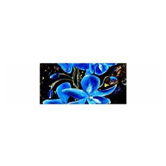 Bright Blue Abstract Flowers Satin Scarf (Oblong)