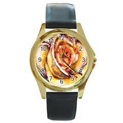 Abstract Rose Round Gold Metal Watches