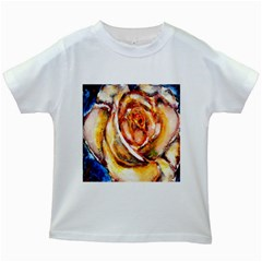Abstract Rose Kids White T Shirts