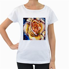 Abstract Rose Women s Loose-Fit T-Shirt (White)