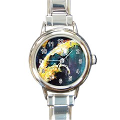 Abstract Space Nebula Round Italian Charm Watches