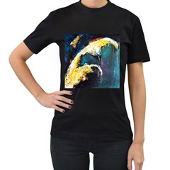 Abstract Space Nebula Women s T-Shirt (Black) (Two Sided)