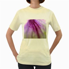 Purple Flower Pedal Women s Yellow T-Shirt
