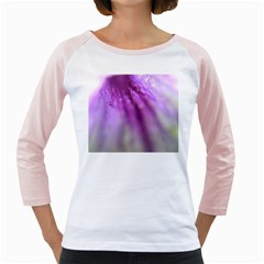 Purple Flower Pedal Girly Raglans