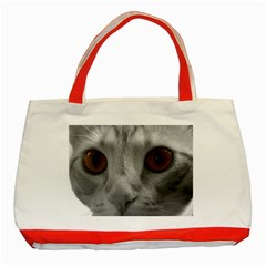 Funny Cat Classic Tote Bag (red)