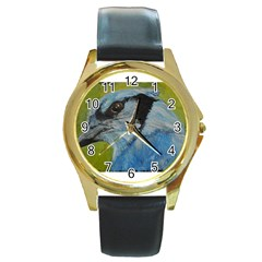 Blue Jay Round Gold Metal Watches