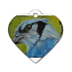 Blue Jay Dog Tag Heart (one Side)