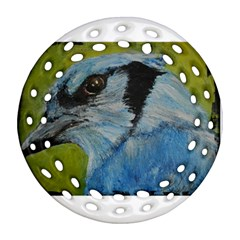 Blue Jay Round Filigree Ornament (2side)