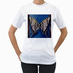 Butterfly Women s T Shirt (white) (two Sided)