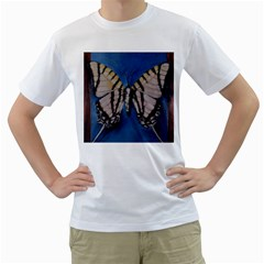 Butterfly Men s T-Shirt (White) (Two Sided)