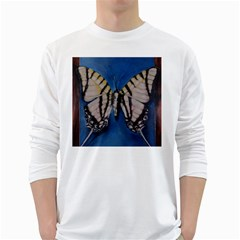 Butterfly White Long Sleeve T Shirts