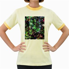 Colour Play Flowers Women s Fitted Ringer T-Shirts