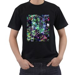Colour Play Flowers Men s T Shirt (black) (two Sided)