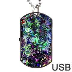Colour Play Flowers Dog Tag USB Flash (One Side)
