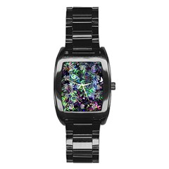Colour Play Flowers Stainless Steel Barrel Watch
