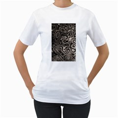 Tile Reflections Alien Skin Dark Women s T-Shirt (White) (Two Sided)