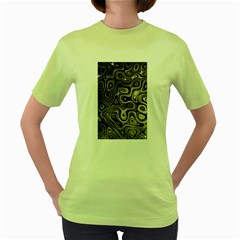 Tile Reflections Alien Skin Dark Women s Green T Shirt