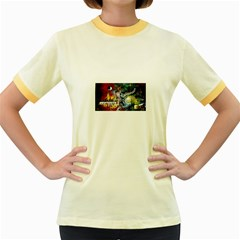 Abstract Music Painting Women s Fitted Ringer T-Shirts