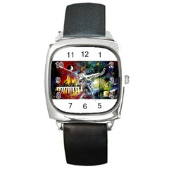 Abstract Music Painting Square Metal Watches