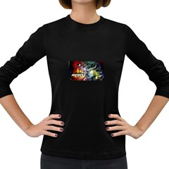 Abstract Music Painting Women s Long Sleeve Dark T Shirts