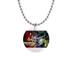 Abstract Music Painting Button Necklaces
