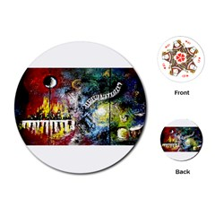 Abstract Music Painting Playing Cards (Round)
