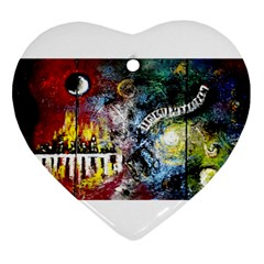 Abstract Music Painting Heart Ornament (2 Sides)