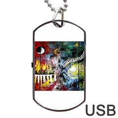 Abstract Music Painting Dog Tag USB Flash (One Side)