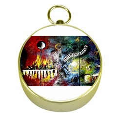 Abstract Music Painting Gold Compasses