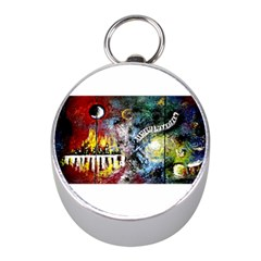 Abstract Music Painting Mini Silver Compasses