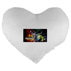 Abstract Music Painting Large 19  Premium Flano Heart Shape Cushions