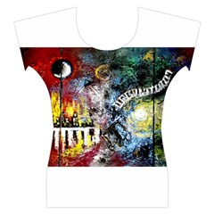 Abstract Music Painting Women s Cap Sleeve Top