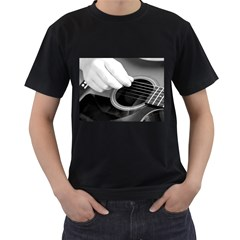 Guitar Player Men s T Shirt (black) (two Sided)